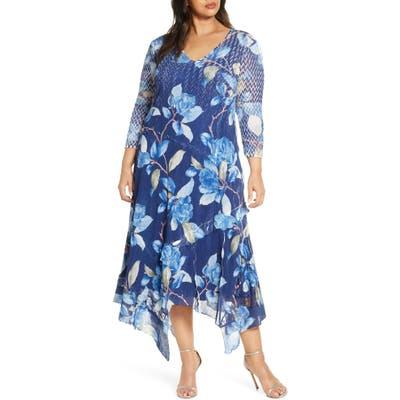 Plus Size Komarov Floral Charmeuse & Chiffon Maxi Dress, Blue