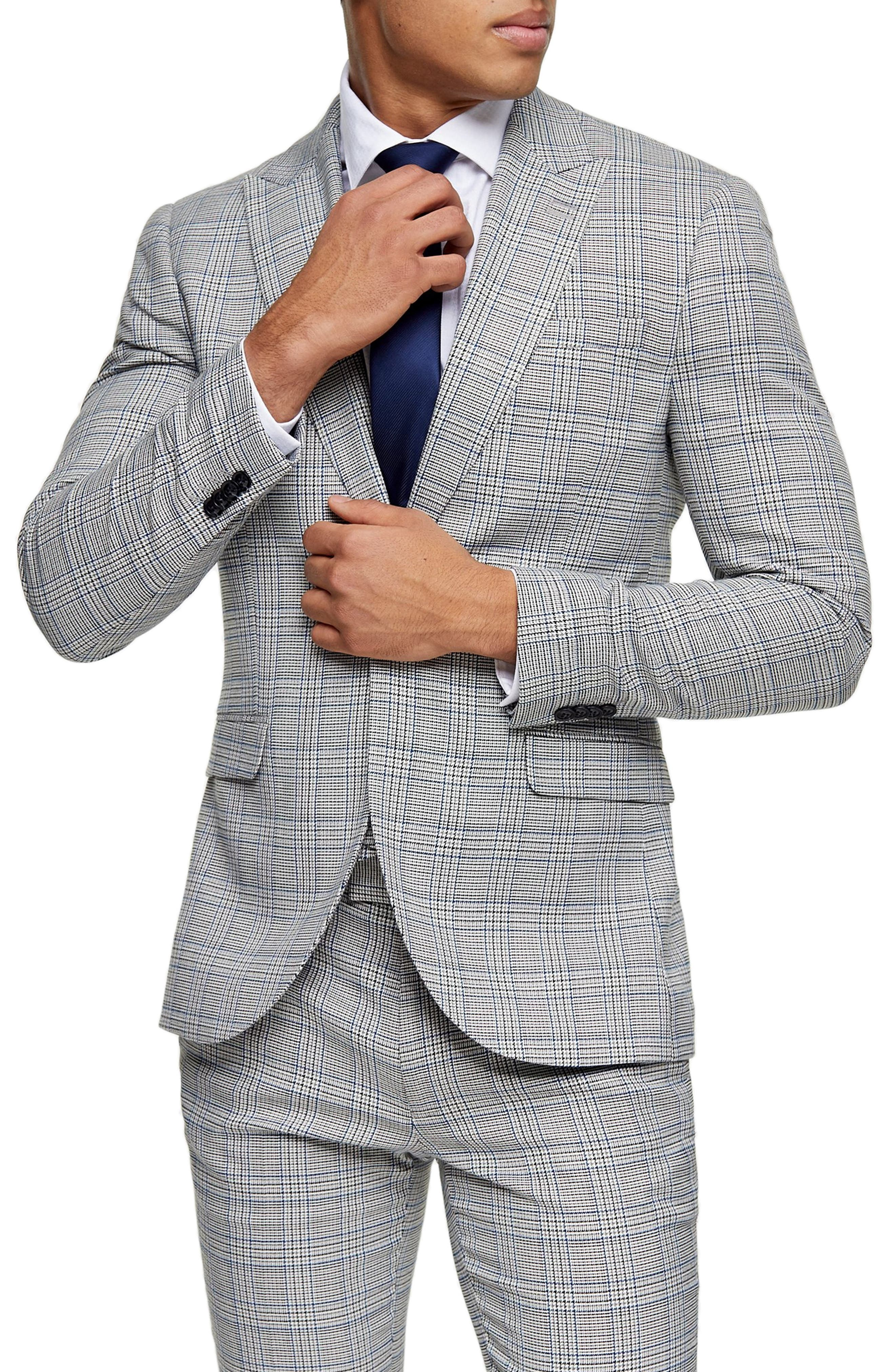 Suit up in this slim-fitting blazer covered in lively checks. Style Name: Topman Luther Skinny Fit Suit Blazer. Style Number: 6042230. Available in stores.