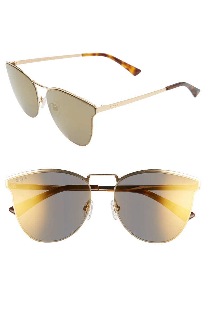 DIFF Sadie 58mm Flat Front Sunglasses, Main, color, GOLD/ GOLD