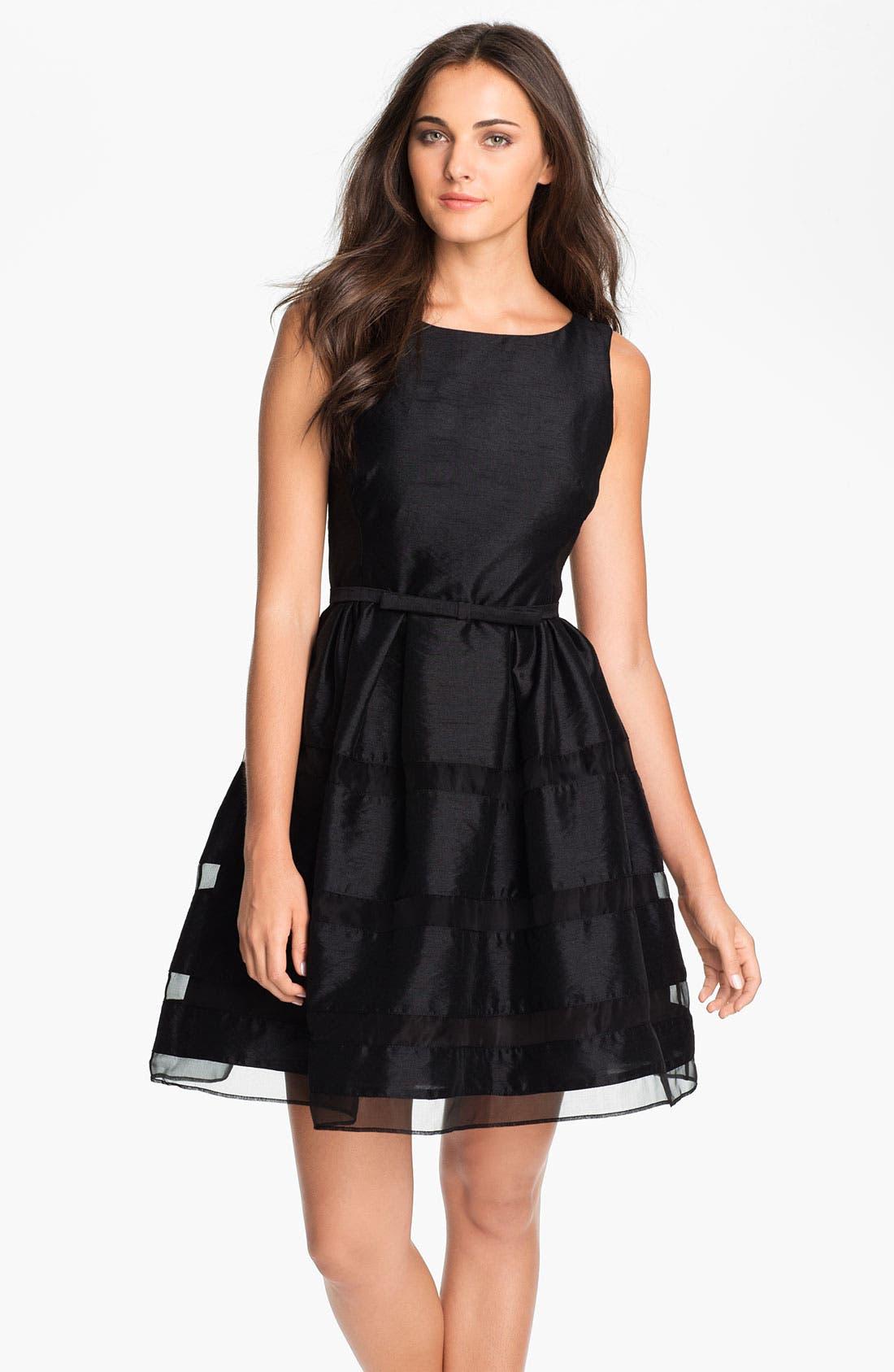 Tonal Stripe Fit & Flare Dress, Main, color, 001
