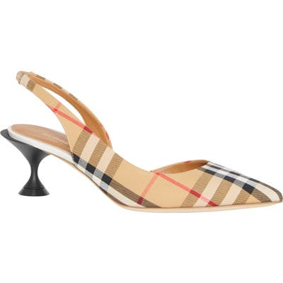 Burberry Leticia Check Slingback Pump, Beige