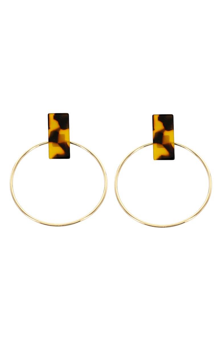 PANACEA Hoop Earrings, Main, color, GOLD/ BROWN