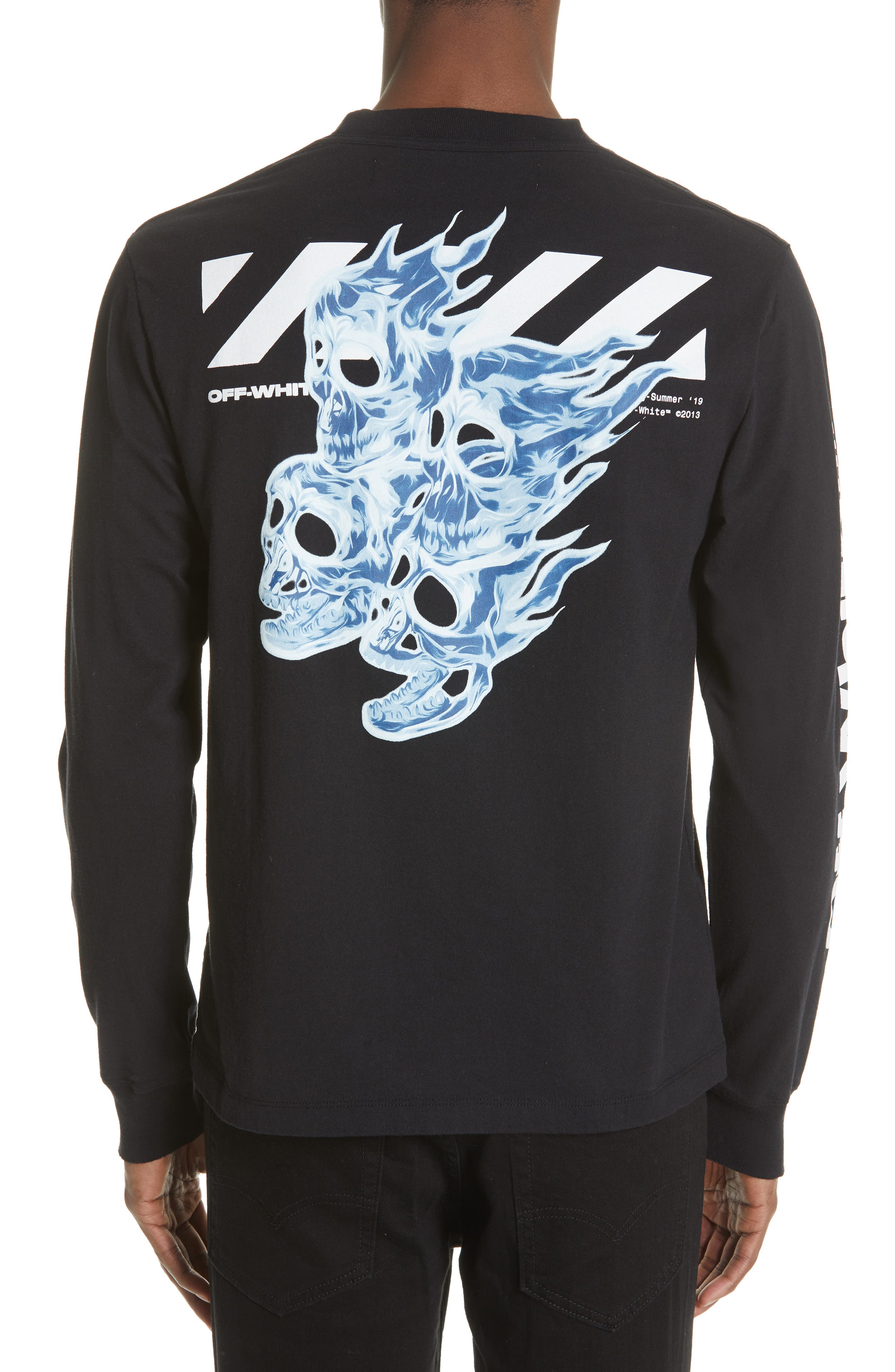 ,                             Diagonal Skull Graphic Mock Neck T-Shirt,                             Alternate thumbnail 2, color,                             001