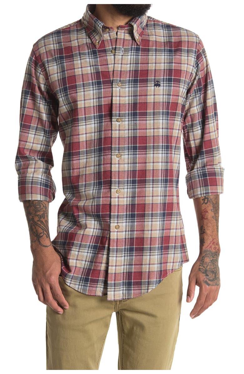 BROOKS BROTHERS Plaid Print Flannel Regular Fit Shirt, Main, color, OPEN BEIGE
