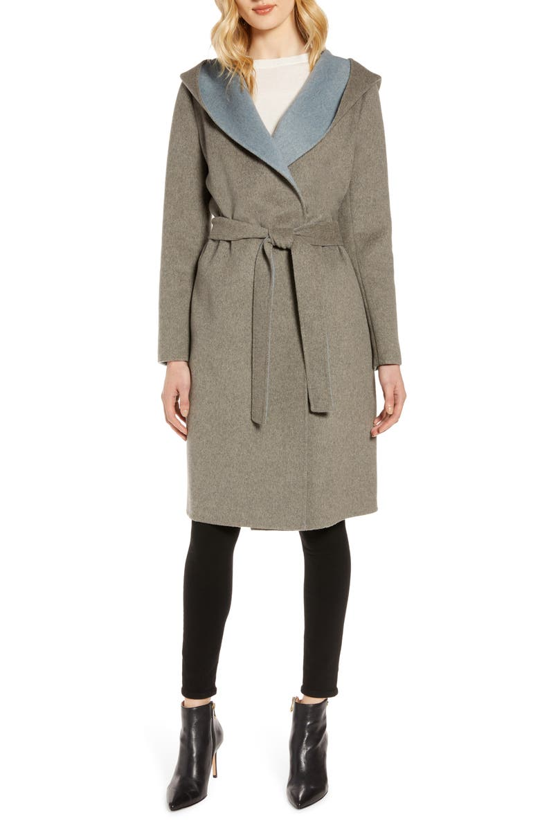 Double Face Wool Blend Wrap Coat With Hood by Sam Edelman