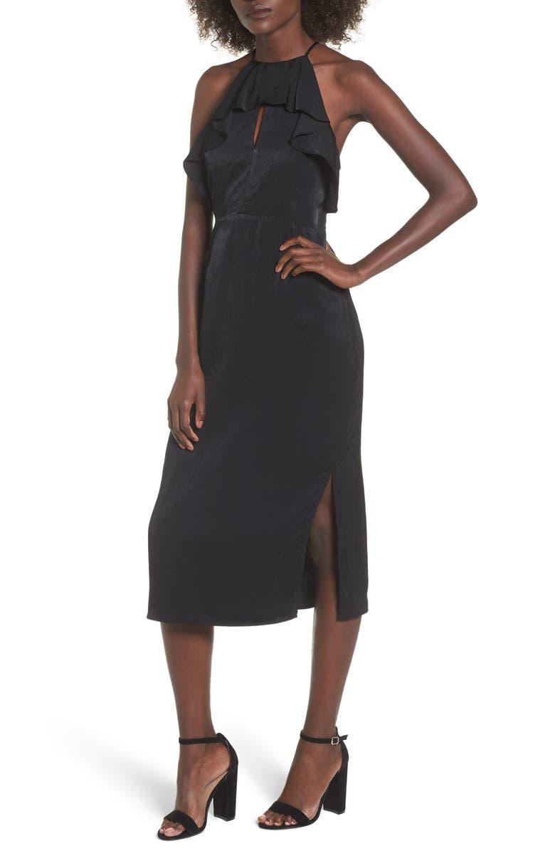 EVERLY Ruffle Neck Satin Midi Dress, Main, color, 001