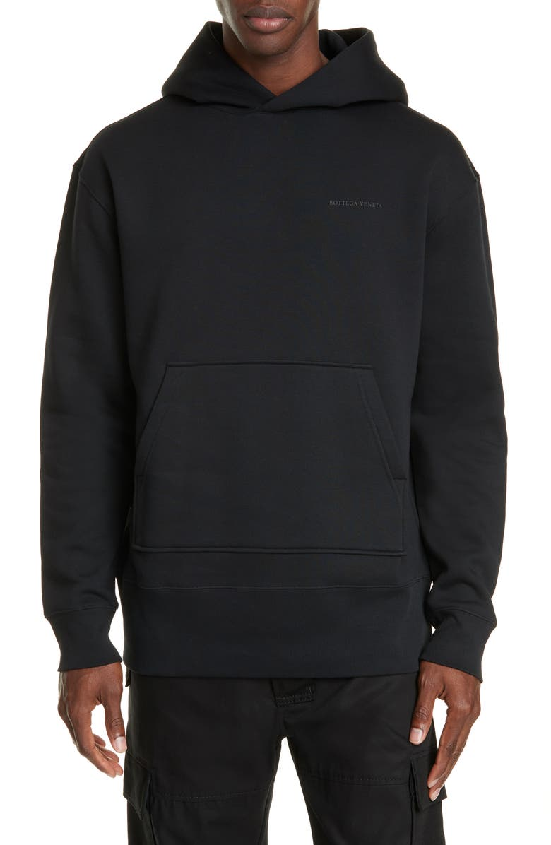 BOTTEGA VENETA Logo Cotton Blend Hoodie, Main, color, NERO