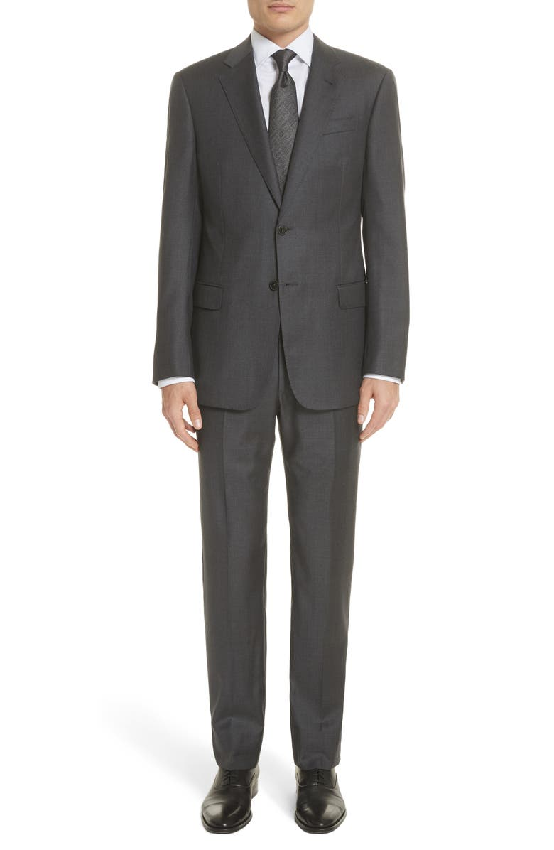 EMPORIO ARMANI Trim Fit Solid Wool Suit, Main, color, GREY