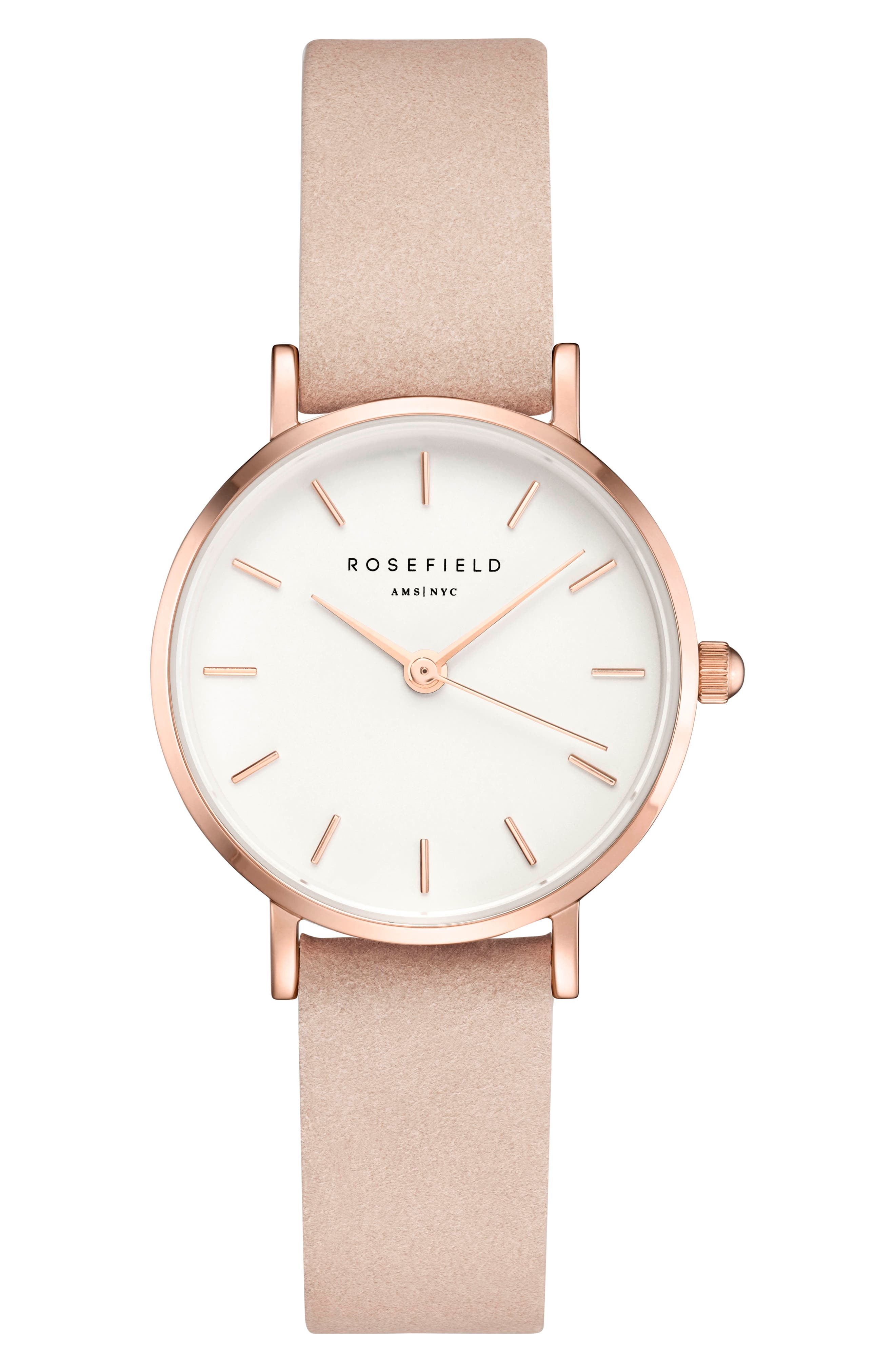 Small Edit Leather Strap Watch, 26mm, Main, color, PINK/ WHITE/ ROSE GOLD