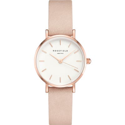 Rosefield Small Edit Leather Strap Watch, 2m