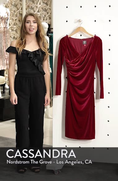 Long Sleeve Ruched Stretch Velvet Dress, sales video thumbnail