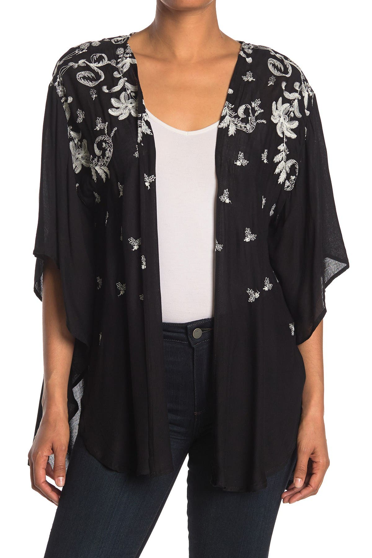 Image of Forgotten Grace Embroidered Open Front Kimono