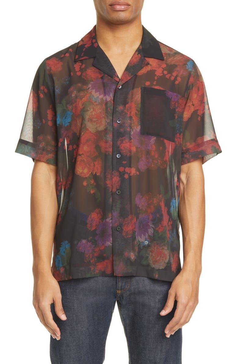 DRIES VAN NOTEN Carltone Floral Short Sleeve Button-Up Shirt, Main, color, 001