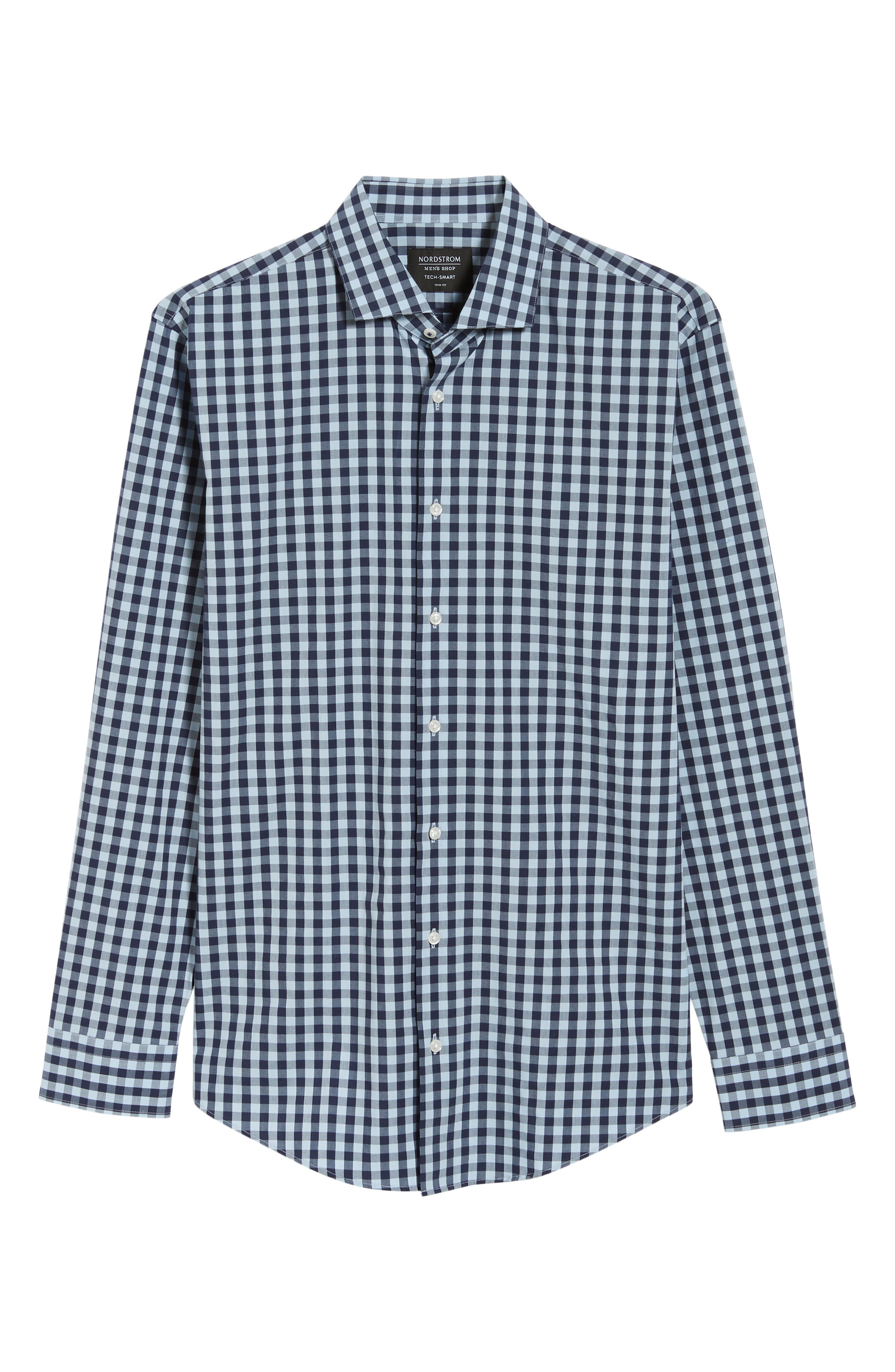 ,                             Tech-Smart Trim Fit Stretch Check Dress Shirt,                             Alternate thumbnail 25, color,                             415