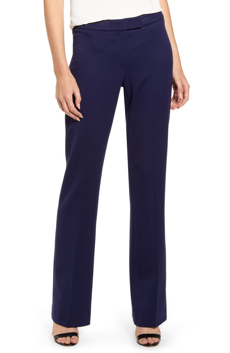 ANNE KLEIN Flare Leg Stretch Twill Pants, Main, color, ECLIPSE
