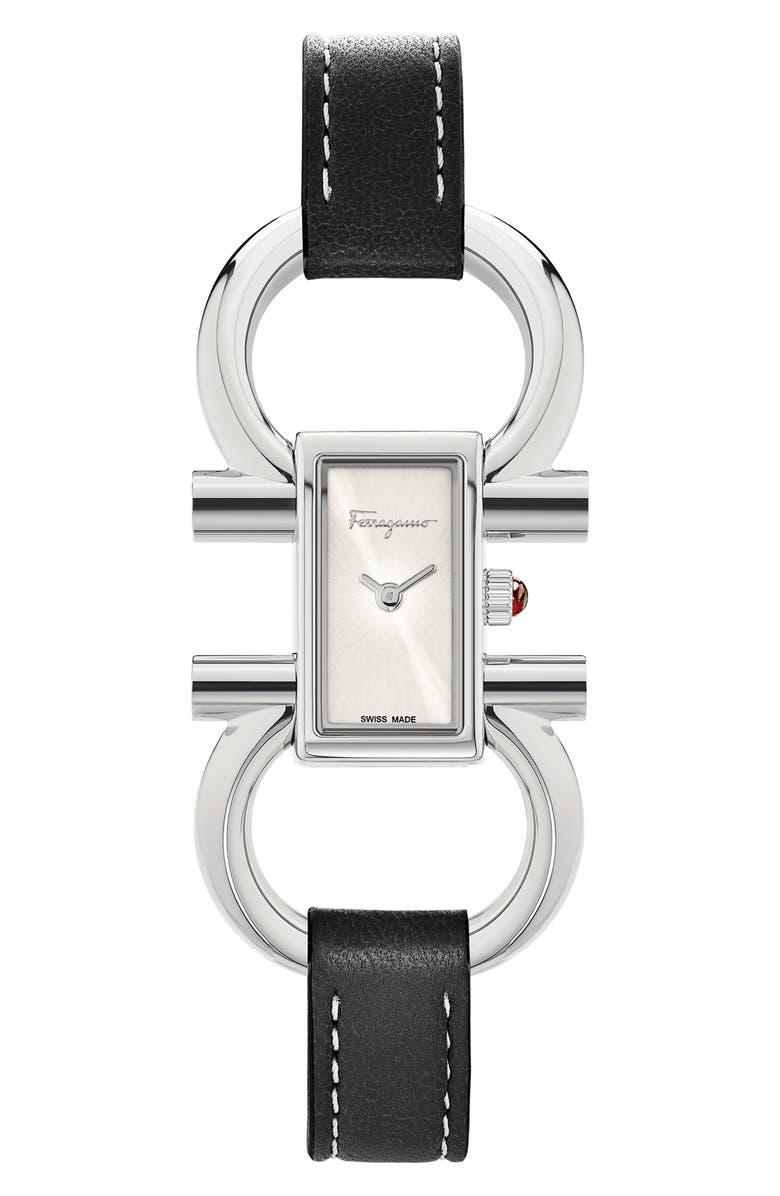 SALVATORE FERRAGAMO Double Gancini Bracelet Watch, 13.5mm x 23.5mm, Main, color, BLACK/ WHITE SUNRAY/ SILVER