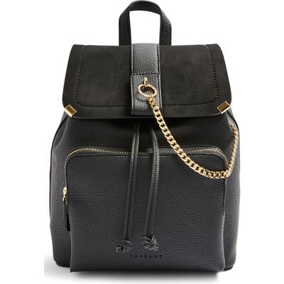 Topshop Brandy Faux Leather Backpack - Black