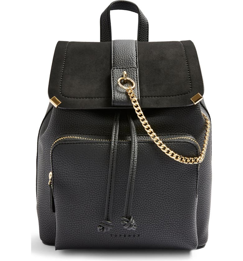 TOPSHOP Brandy Faux Leather Backpack, Main, color, BLACK