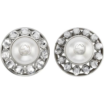 Gucci Interlocking-G Imitation Pearl & Crystal Clip-On Earrings