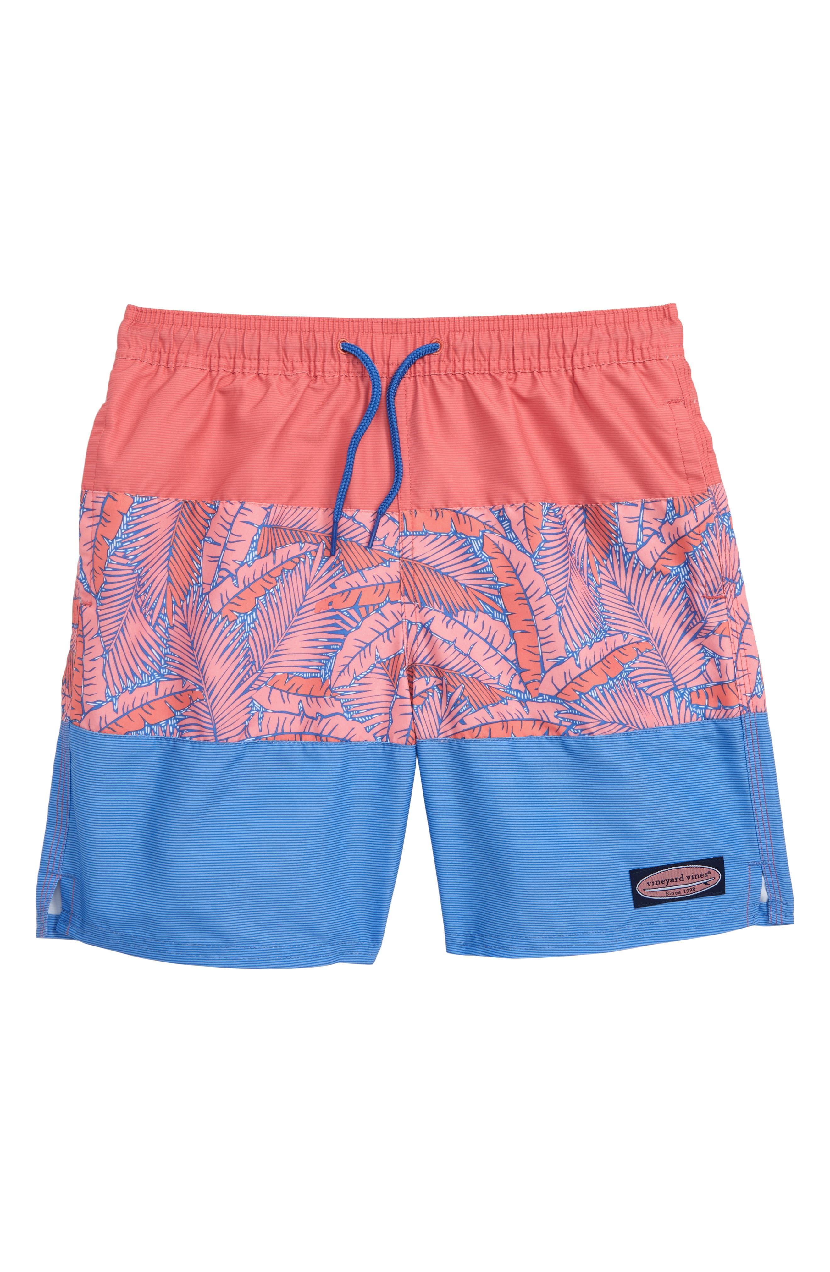 ac30259b8d Boy's Vineyard Vines Island Palm Pieced Chappy Swim Trunks, Size S (8-10) -  Pink