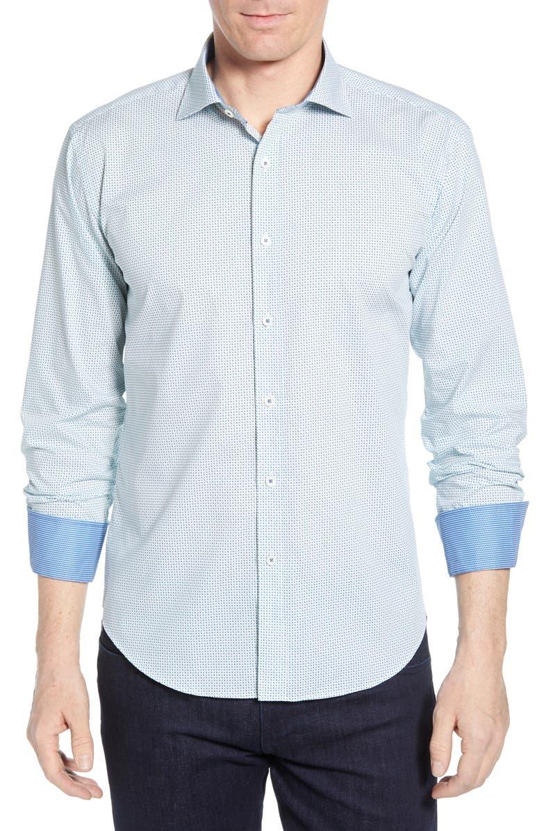 BUGATCHI Shaped Fit Dot Print Cotton Shirt, Main, color, PARADISE