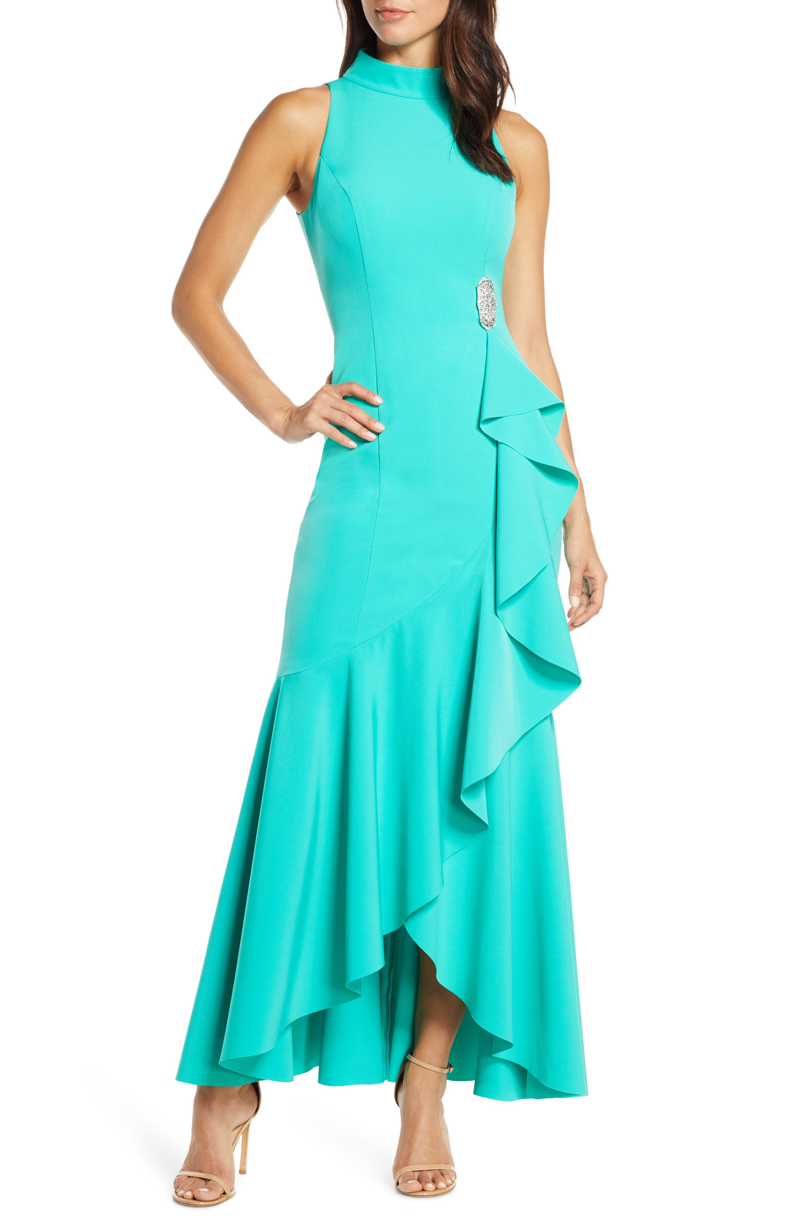 Vince Camuto Laguna Mock Neck Crepe Gown, Green