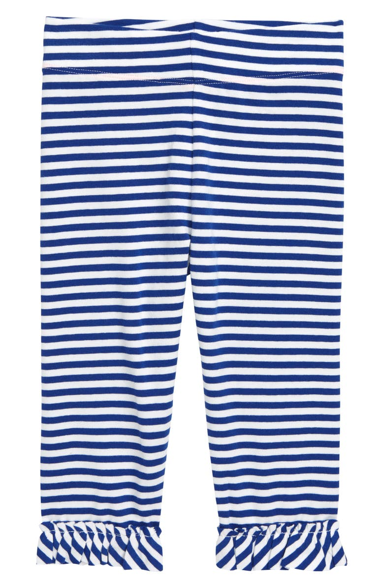 MINI BODEN Ruffle Crop Leggings, Main, color, STR BLUE WAVE/WHITE