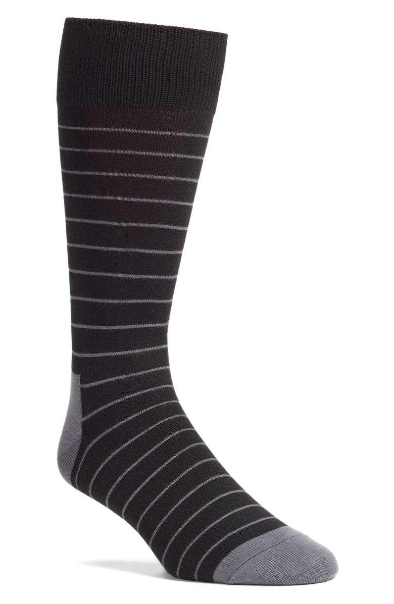 NORDSTROM MEN'S SHOP Ultra Soft Stripe Socks, Main, color, BLACK/ GREY