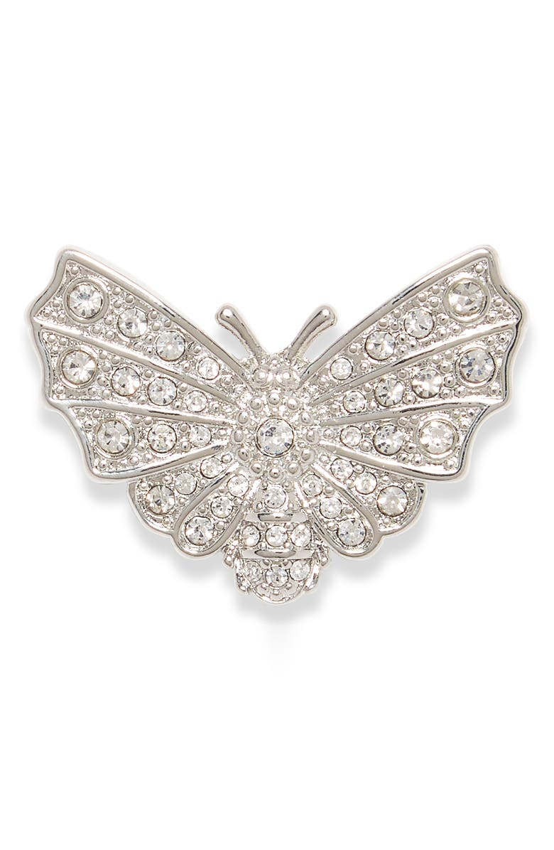VINCE CAMUTO Pavé Butterfly Pin, Main, color, SILVER