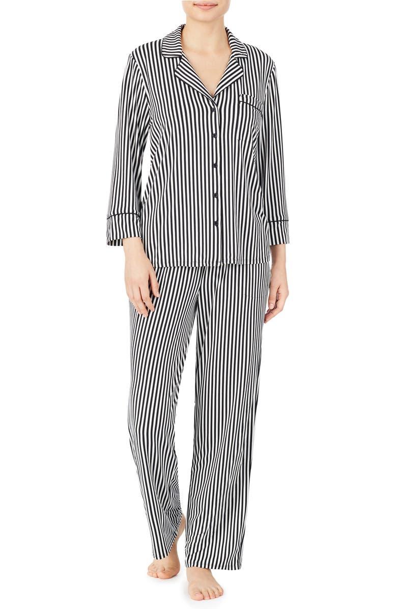 KATE SPADE NEW YORK brushed jersey pajamas, Main, color, MICRO STRIPE