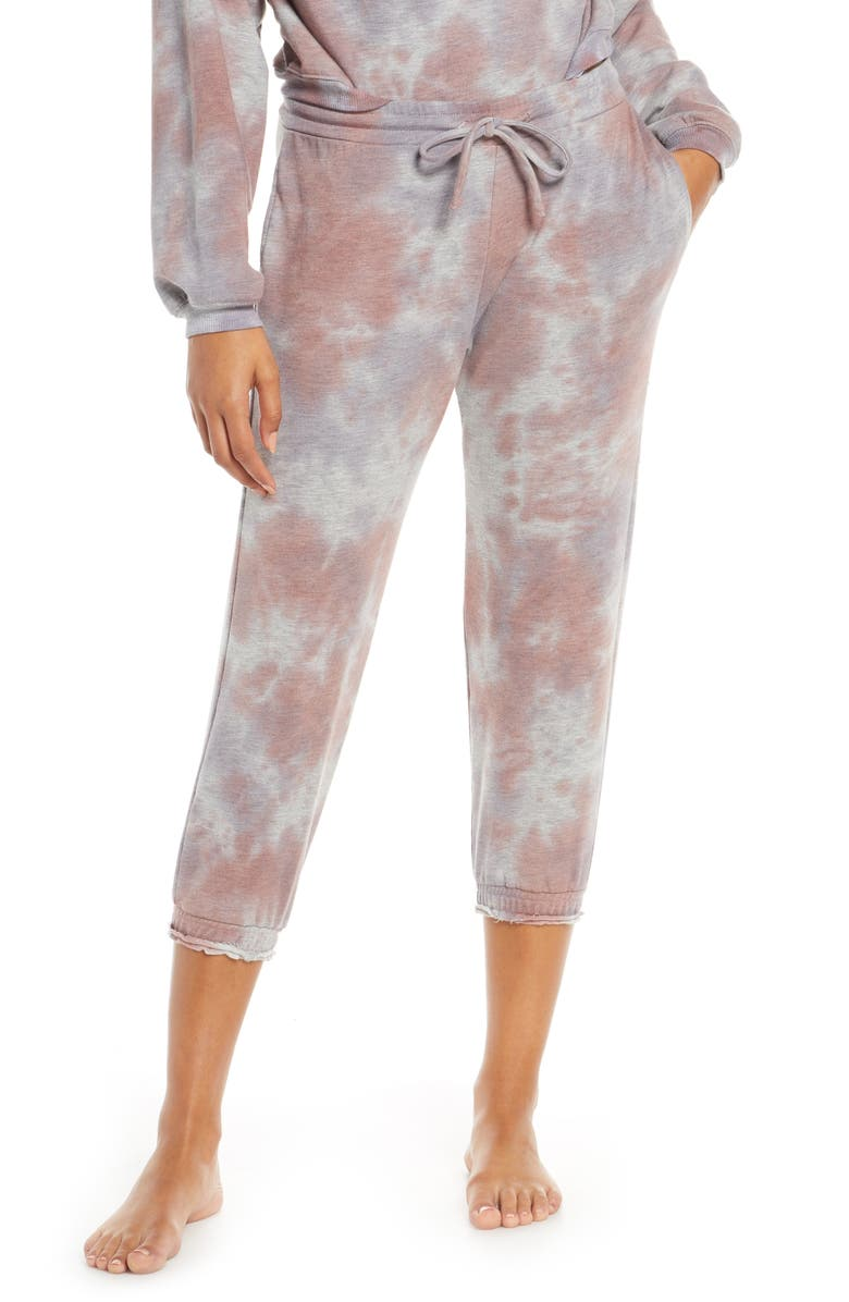 PROJECT SOCIAL T Ultraviolet Crop Lounge Pants, Main, color, PURPLE TIE DYE