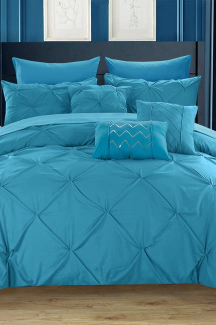 Image of Chic Home Bedding Queen Salvatore Pinch Pleated Comforter 10-Piece Set - Blue