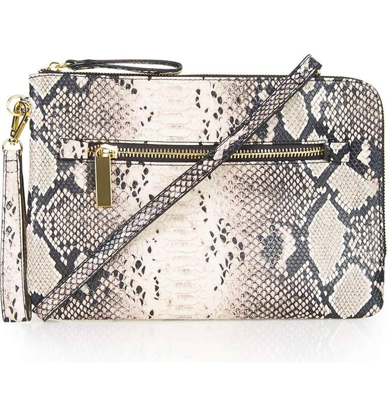 TOPSHOP Snake Print Faux Leather Clutch, Main, color, 250