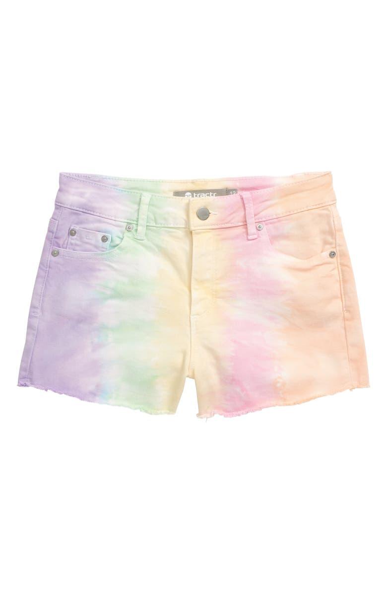 TRACTR Tie Dye Denim Shorts, Main, color, MULTI PASTEL TIE DYE