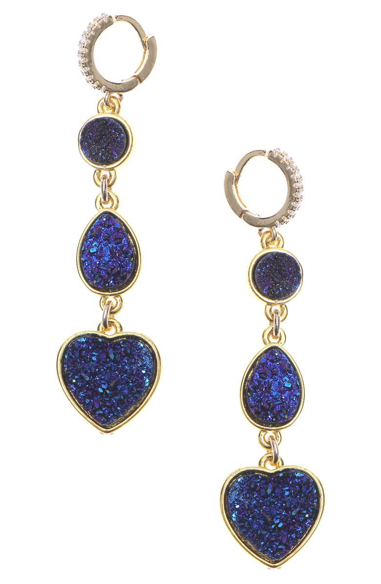 NAKAMOL CHICAGO Drusy Heart Huggie Drop Earrings, Main, color, BLUE./ GOLD