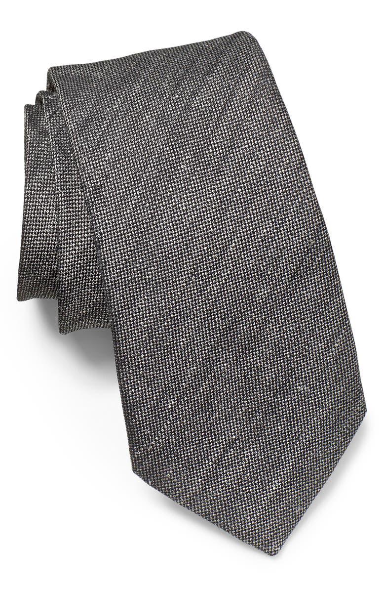 JOHN VARVATOS STAR USA Solid Linen & Silk Tie, Main, color, PAVEMENT