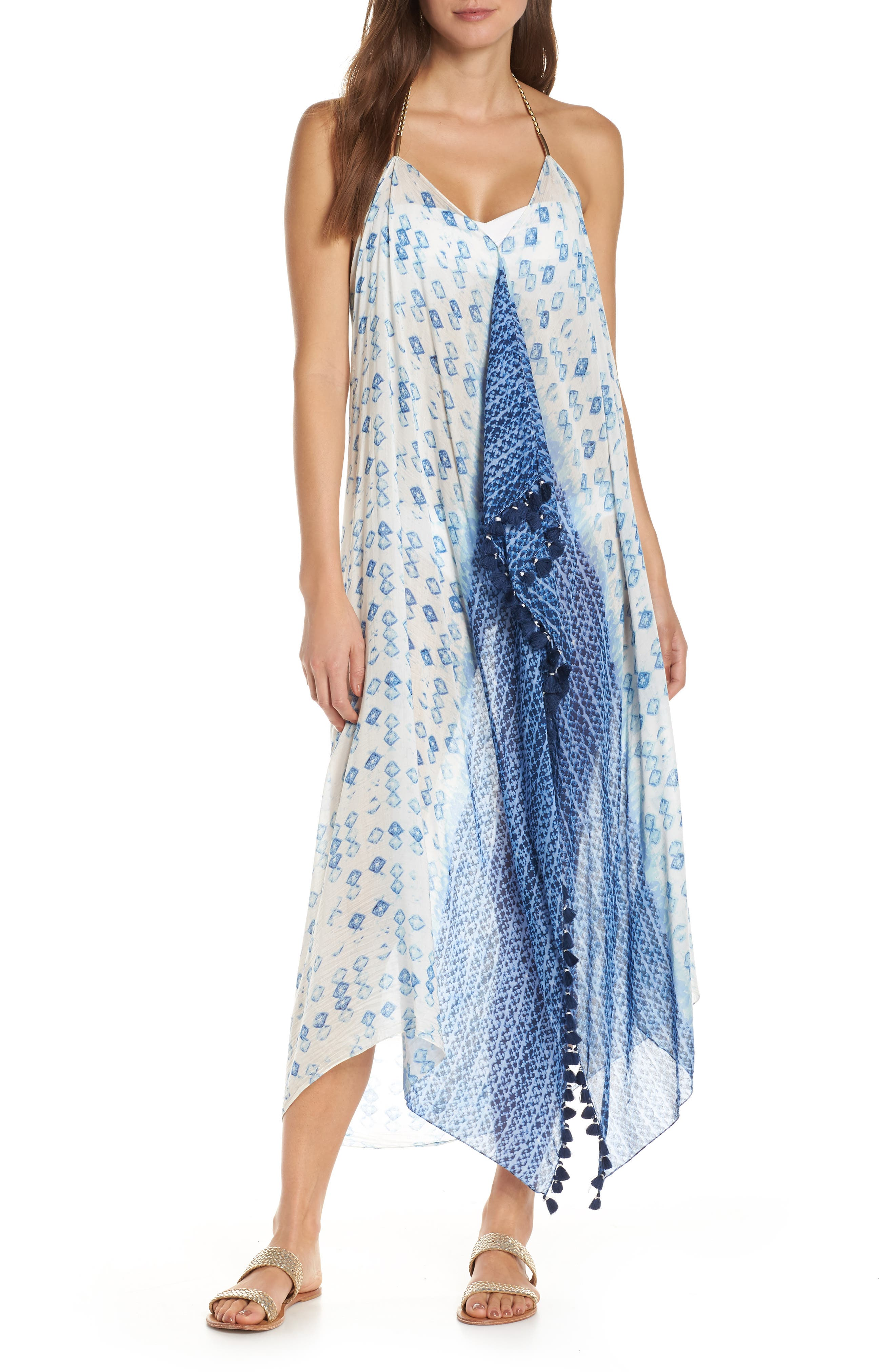 Pool To Party Beach To Street Cover-Up Dress, Size One Size - Blue