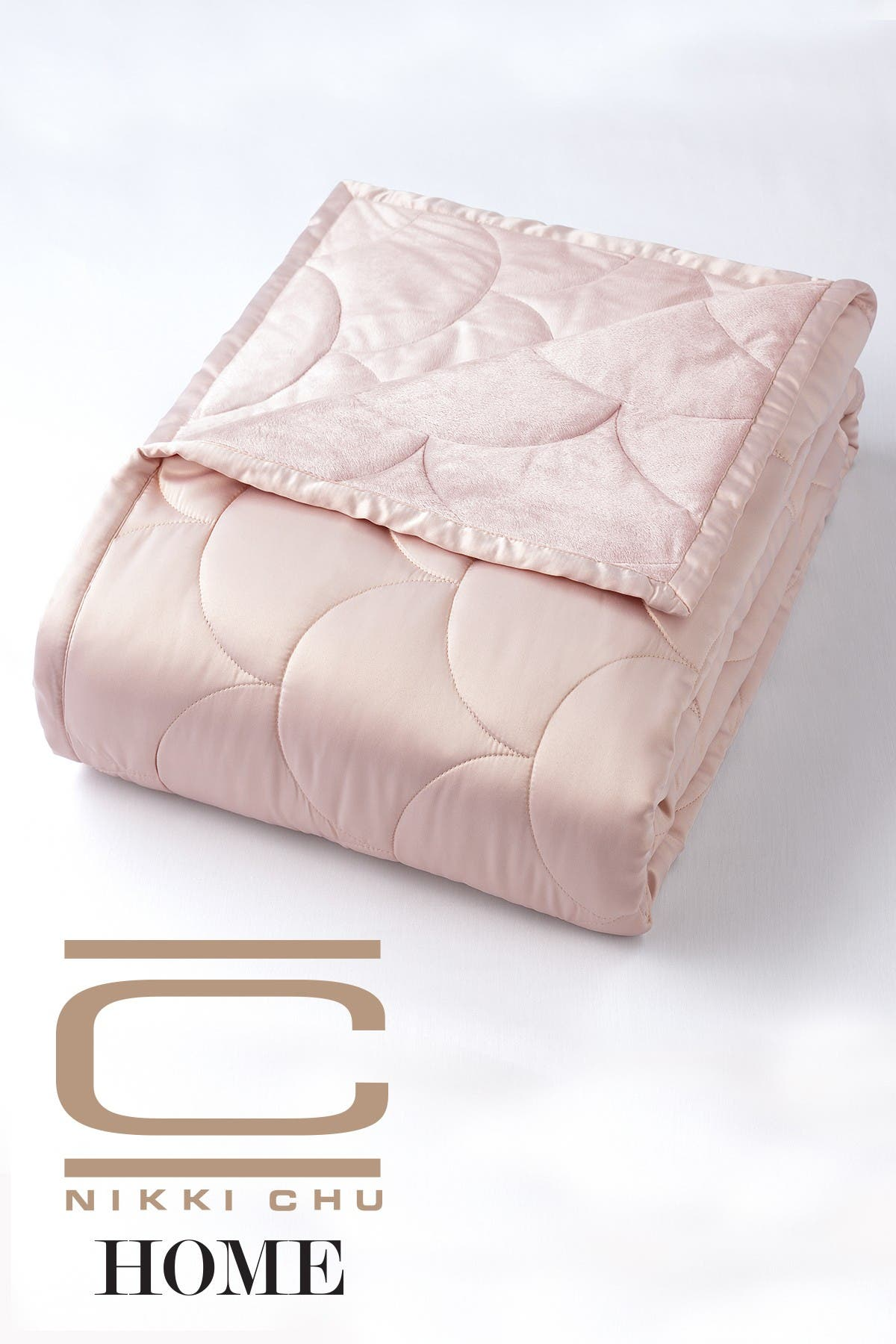 Image of CLIMAREST Nikki Chu Twin Velvet/Satin Reversible Blanket - Rose