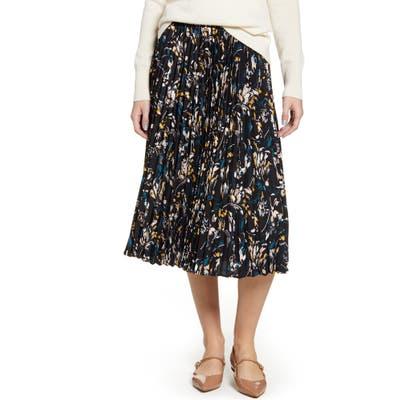 Petite Halogen Pleated Skirt, Black
