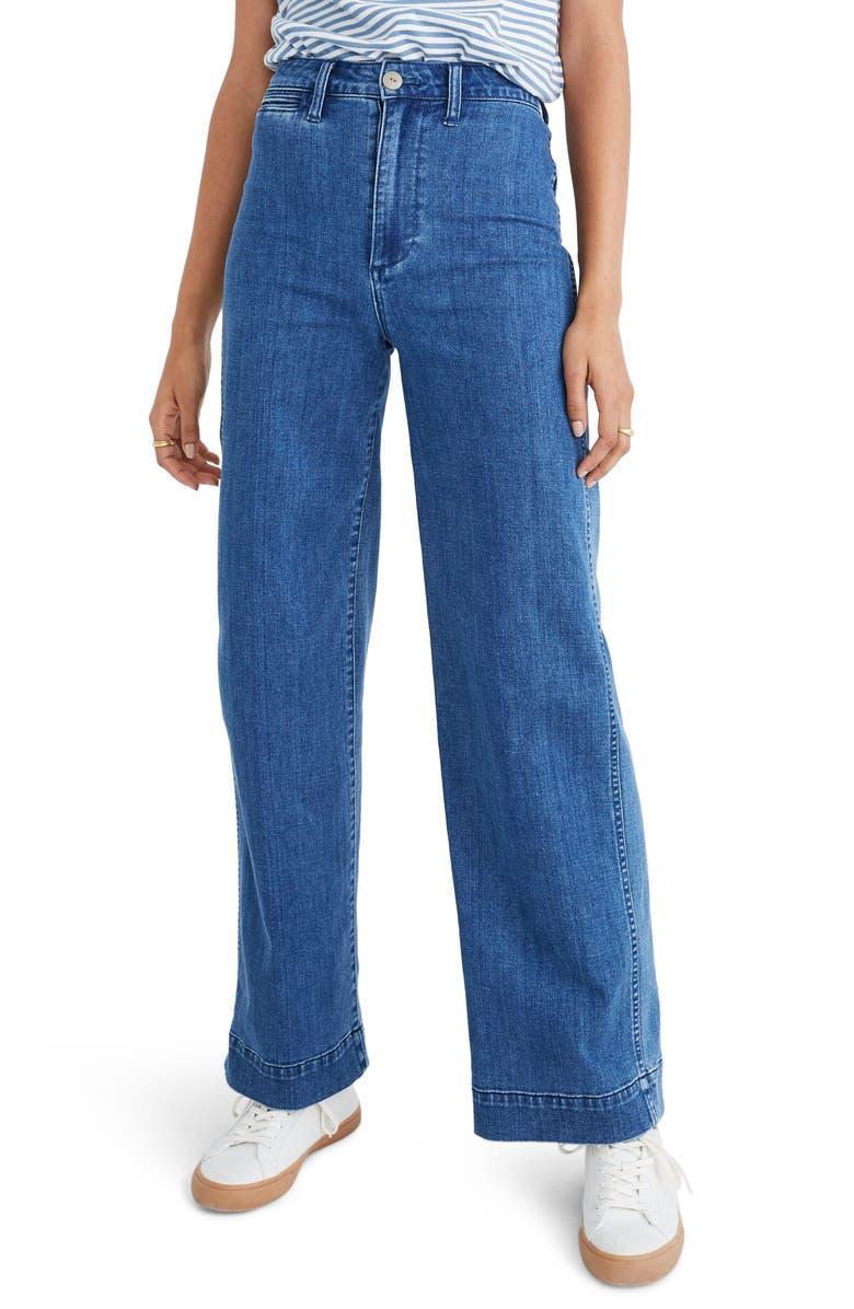 MADEWELL Emmett High Waist Trouser Jeans, Main, color, MIDLAND WASH