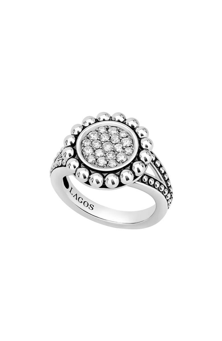 LAGOS Caviar Spark Diamond Ring, Main, color, SILVER/ DIAMOND
