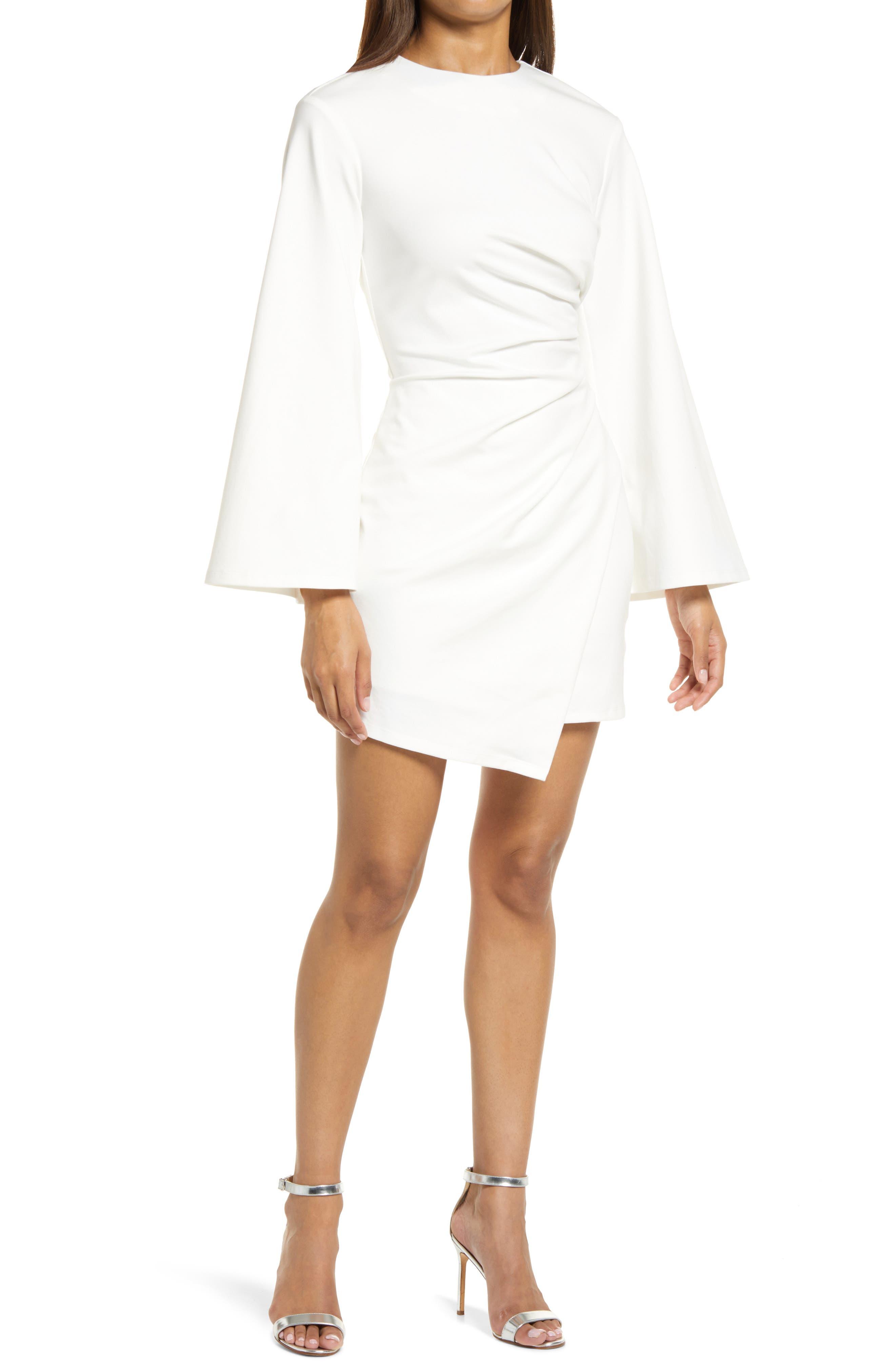 La Fontelina Long Sleeve Stretch Cotton Cocktail Minidress