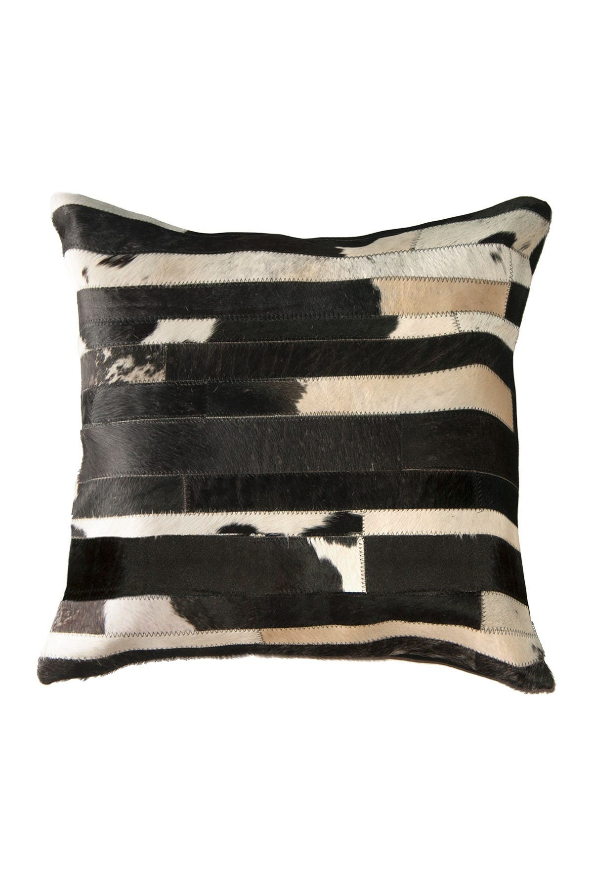 """Image of Natural Torino Classic Large Madrid Genuine Cowhide Pillow - 22""""x22"""" - Black/White"""