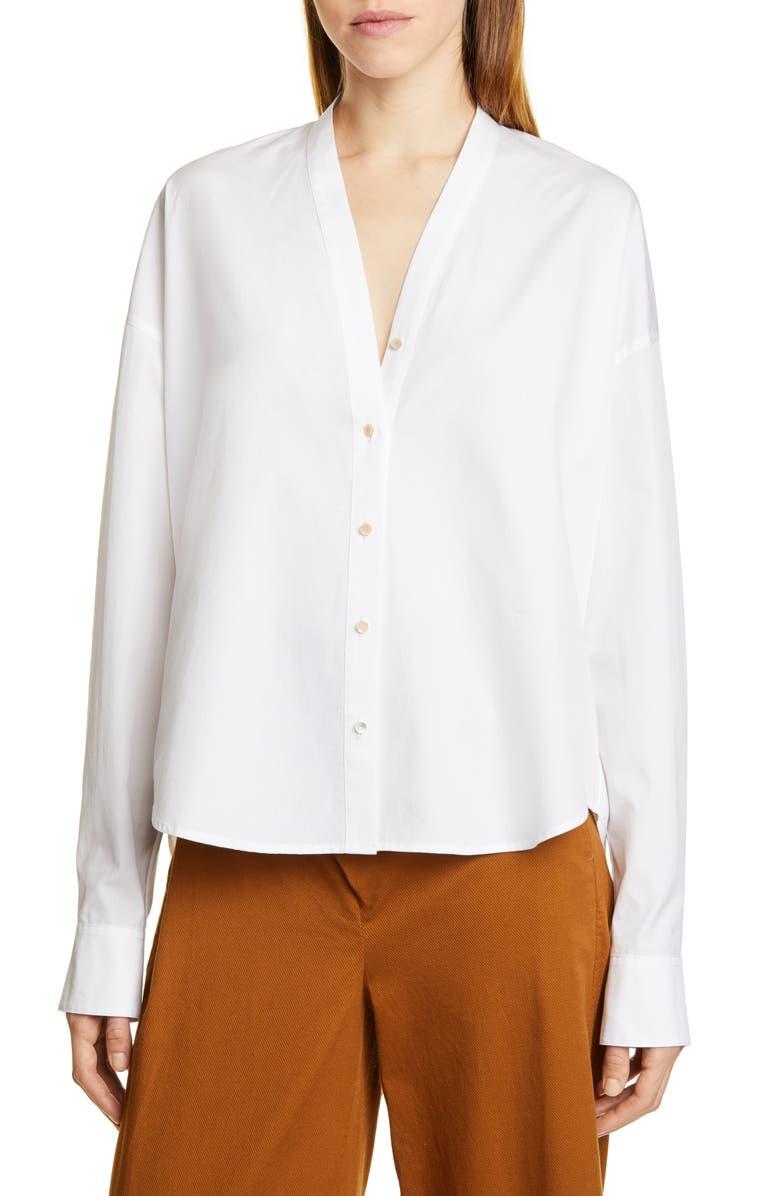 VINCE Split Neck Blouse, Main, color, OPTIC WHITE