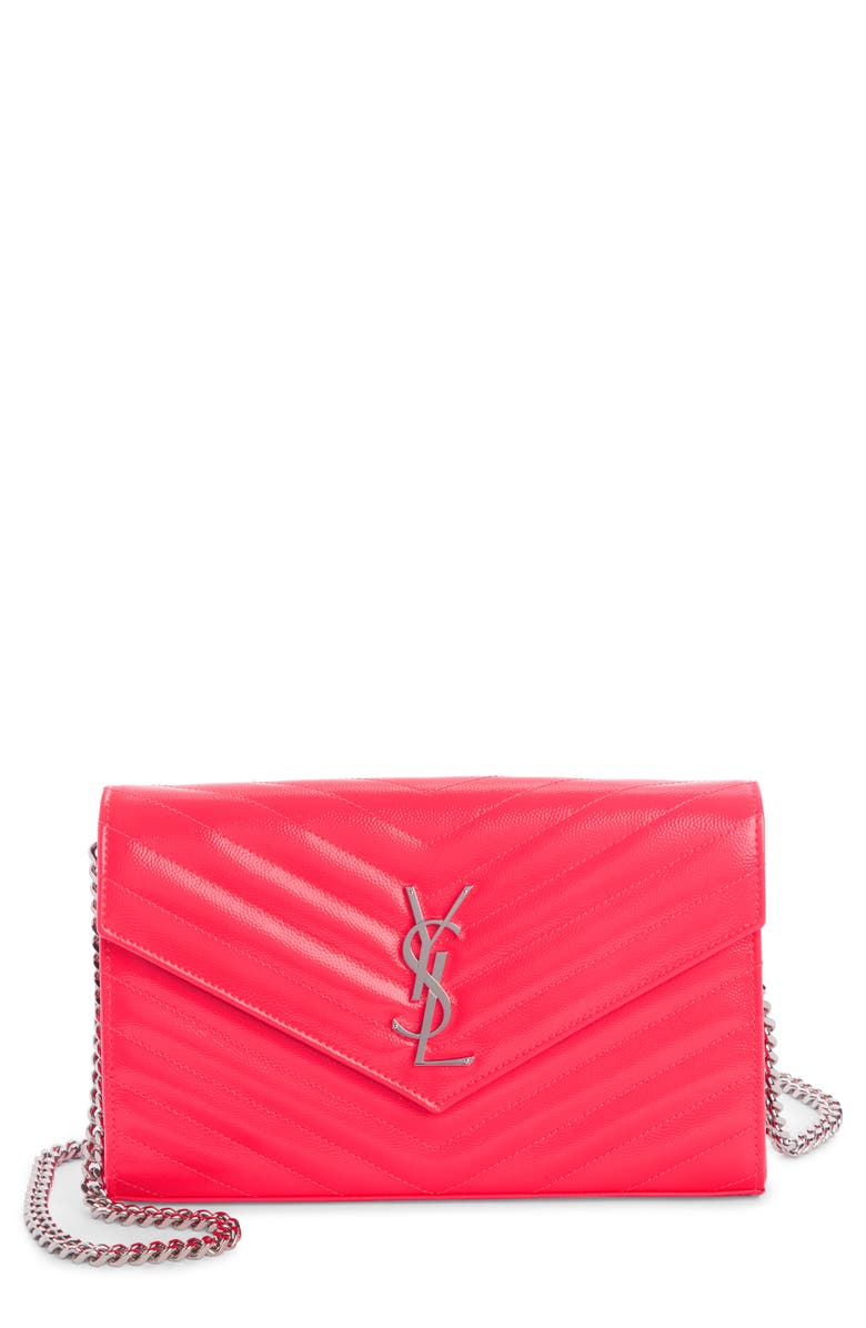 SAINT LAURENT Monogramme Quilted Leather Wallet on a Chain, Main, color, NEON PINK/ NERO
