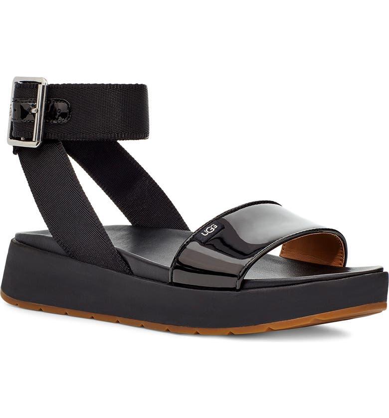 UGG<SUP>®</SUP> Lennox Platform Sandal, Main, color, BLACK FABRIC/ PATENT