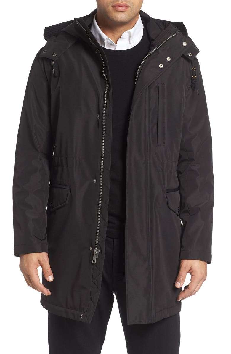 COLE HAAN Insulated Water Resistant Car Coat, Main, color, 001