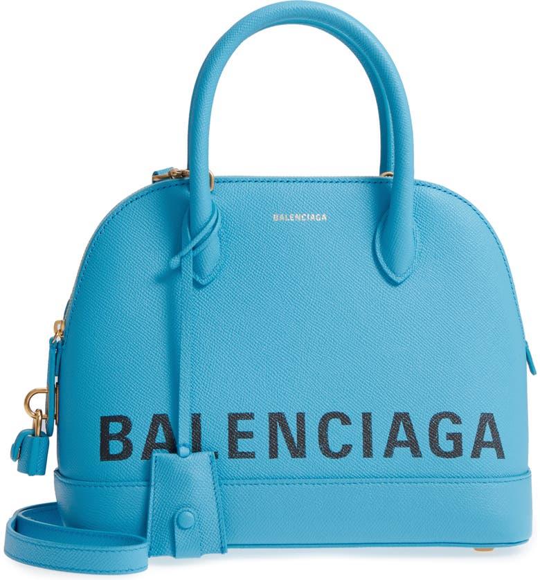 BALENCIAGA Ville Logo Leather Satchel, Main, color, 400