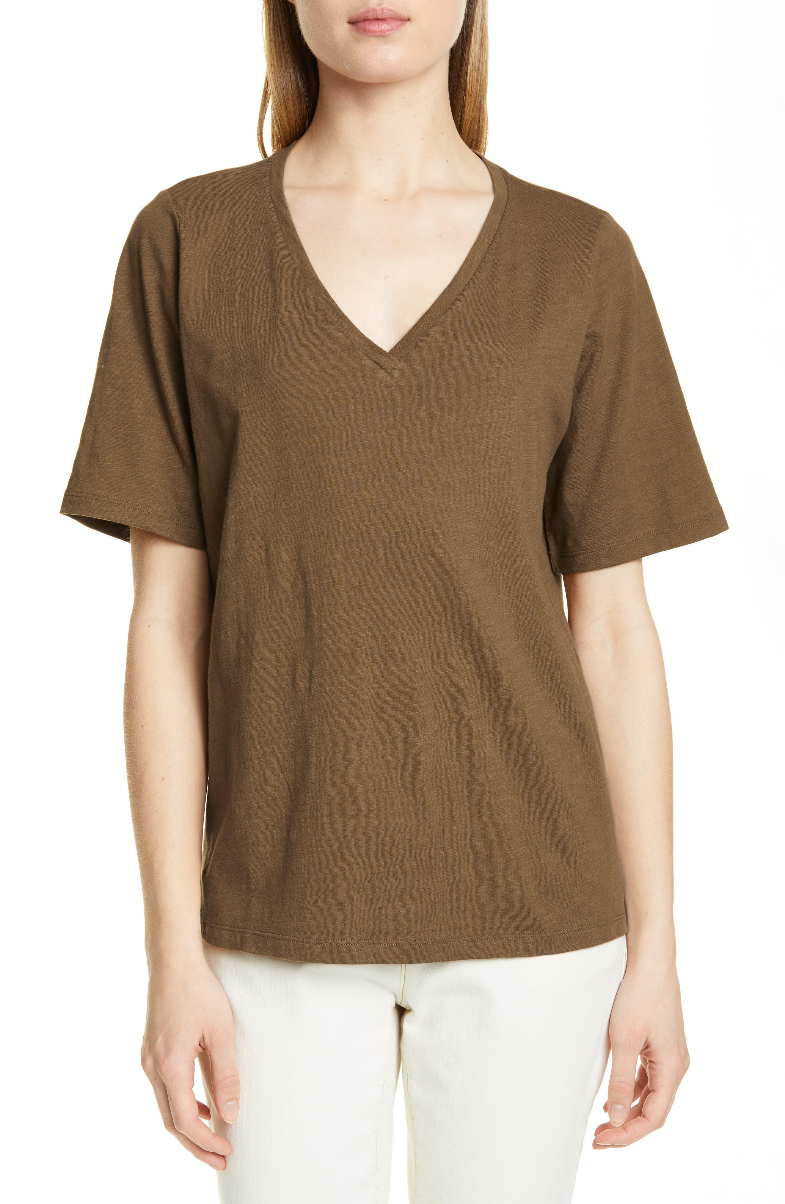 Eileen Fisher V-Neck Organic Cotton Tee, Brown