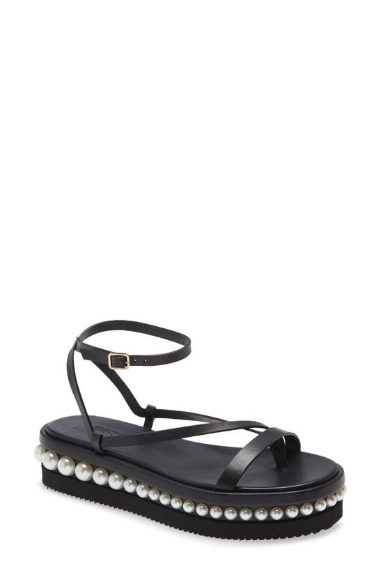 Jimmy Choo Women's Pine Faux Pearl-embellished Leather Platform Sandals In Black/ White